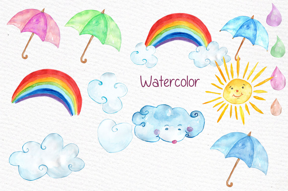 Watercolor weather clipart example image 2