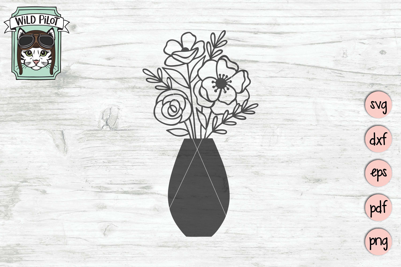 Flower VaseSVG file, Floral Vase cut file, Bouquet clipart example image 3