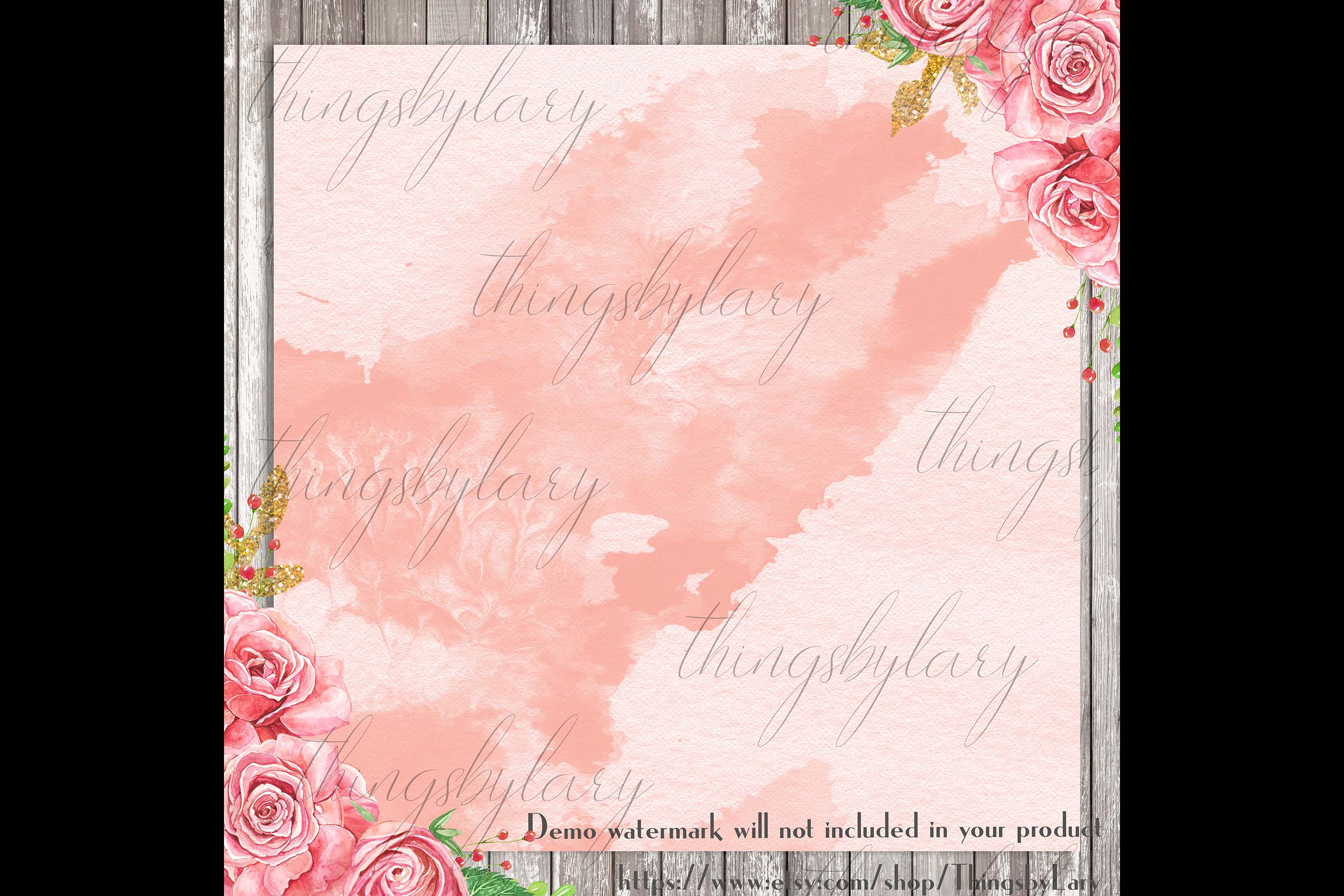 30 Ombre Sapphire & Flamingo Watercolor Digital Papers example image 3