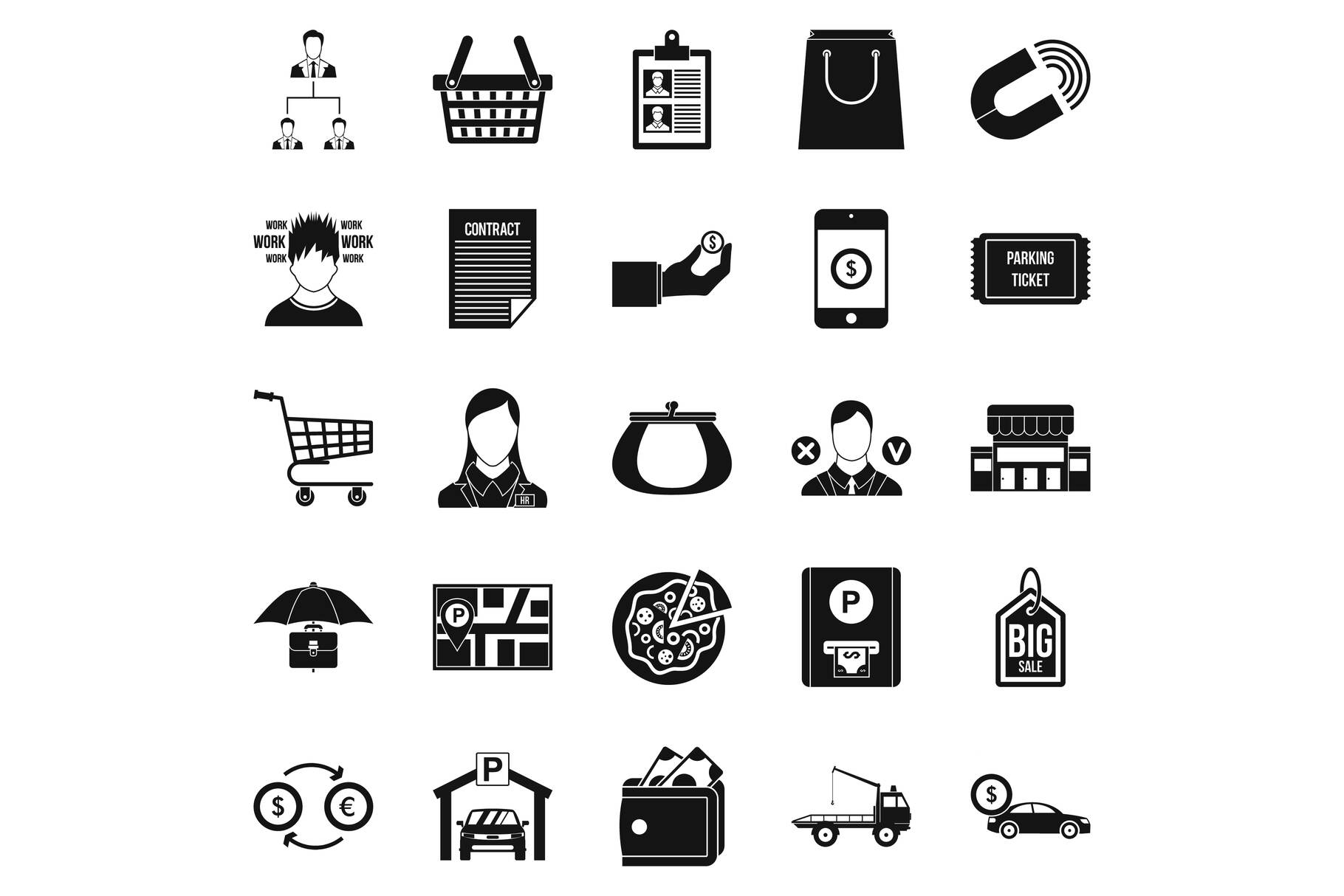 Outlay icons set, simple style example image 1