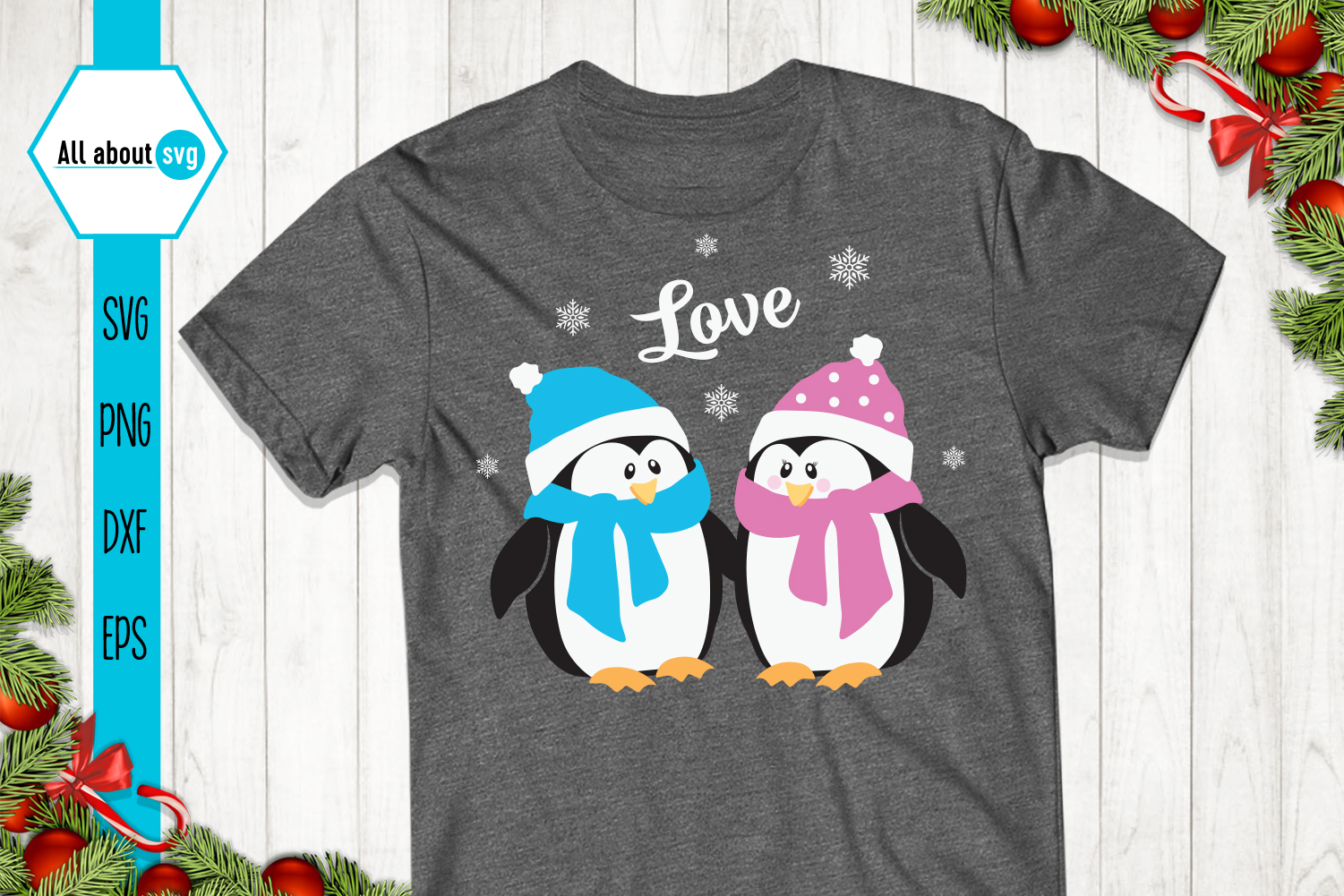 Penguins Love Svg example image 2