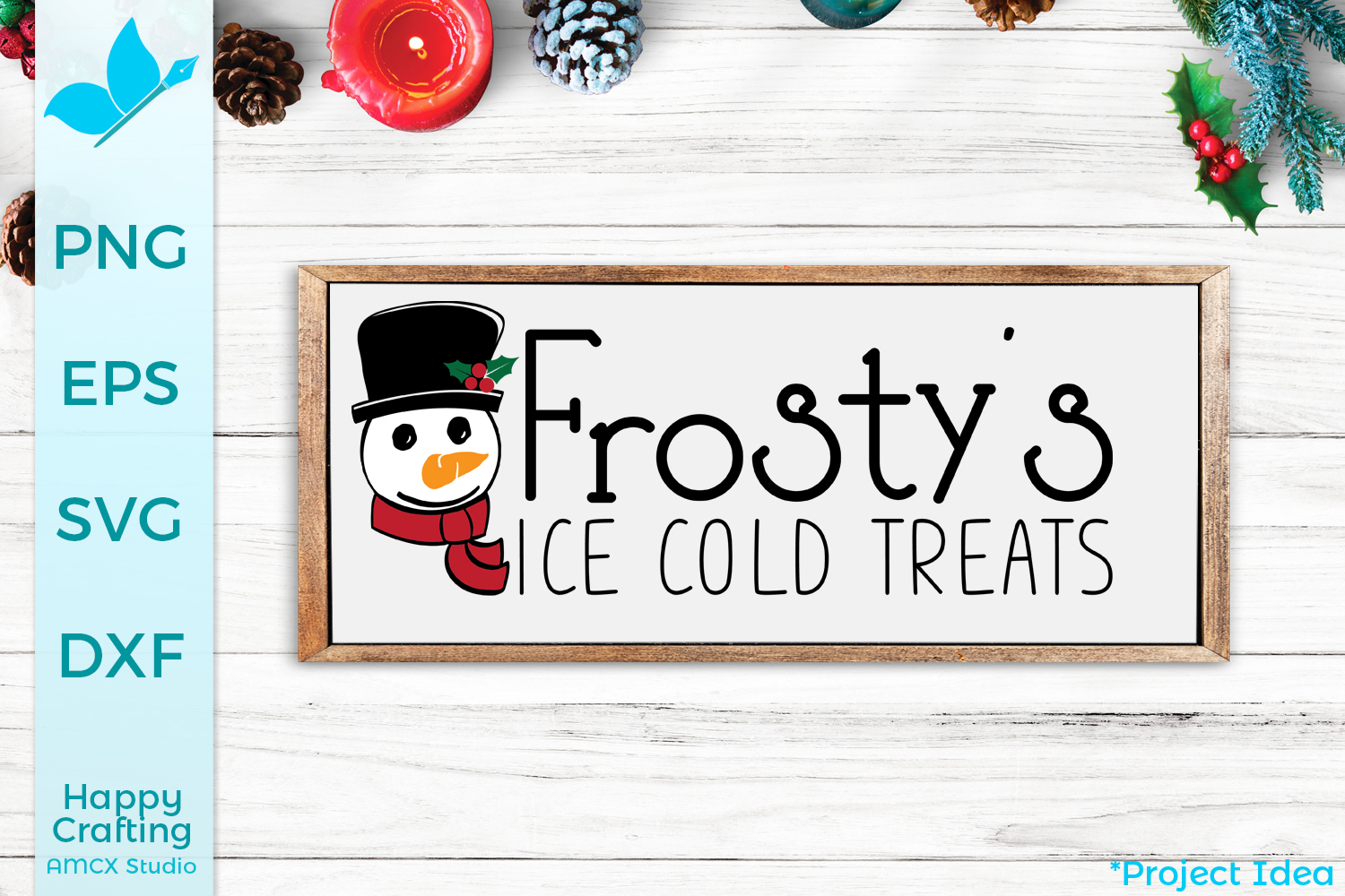 Frosty's Ice Cold Treats - A Cute Christmas Sign Cut File example image 1