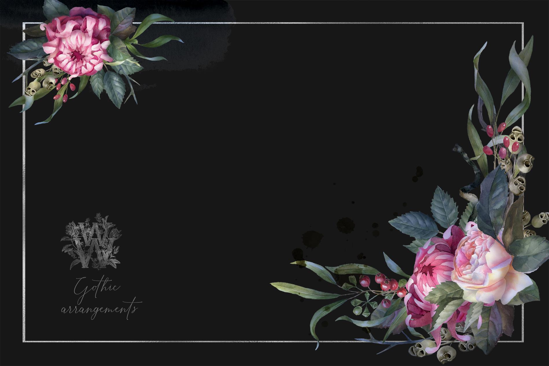 Watercolor Gothic wedding border clipart, dark Halloween example image 8