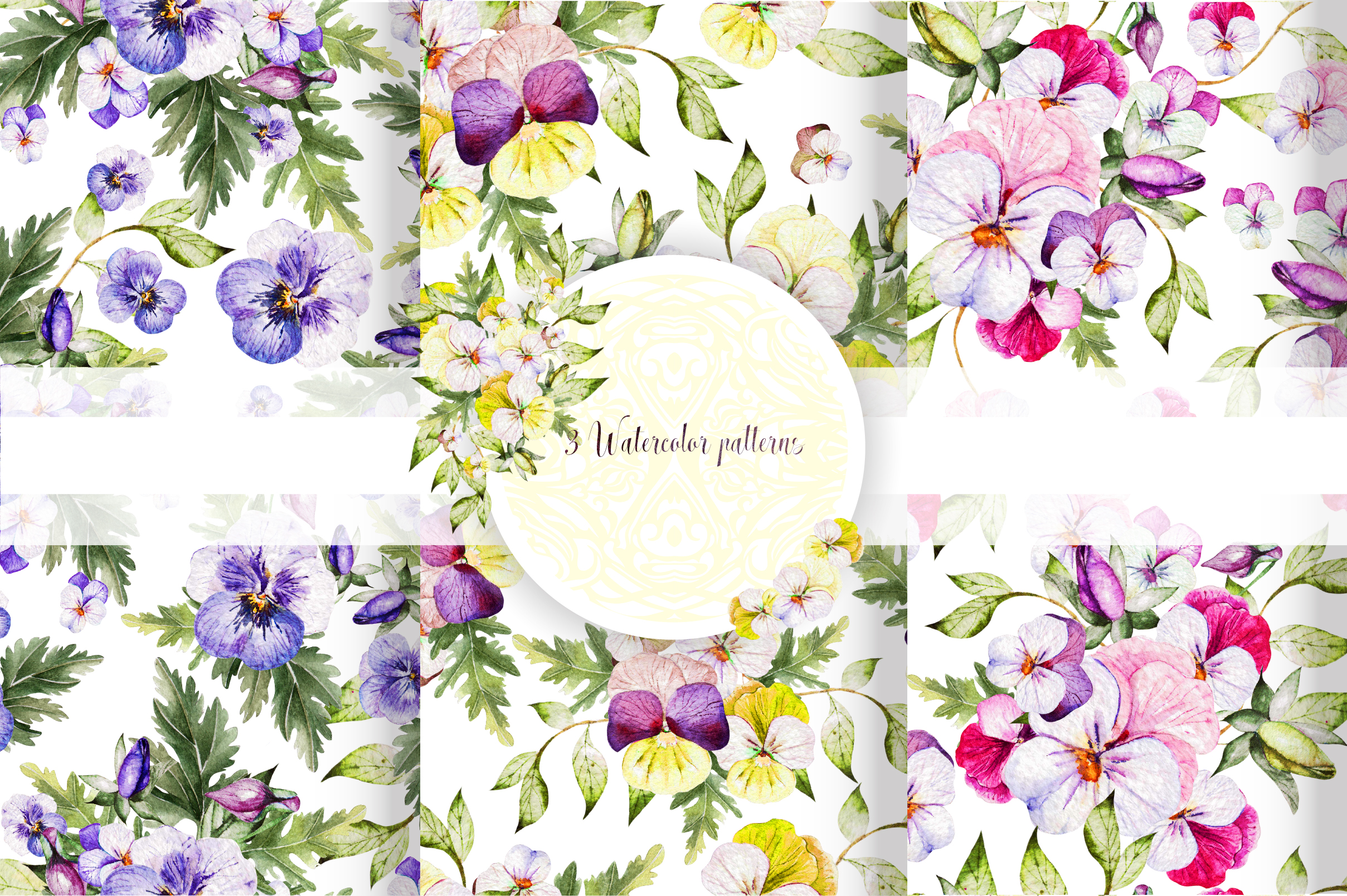 Watercolor PANSY FLOWERS example image 13