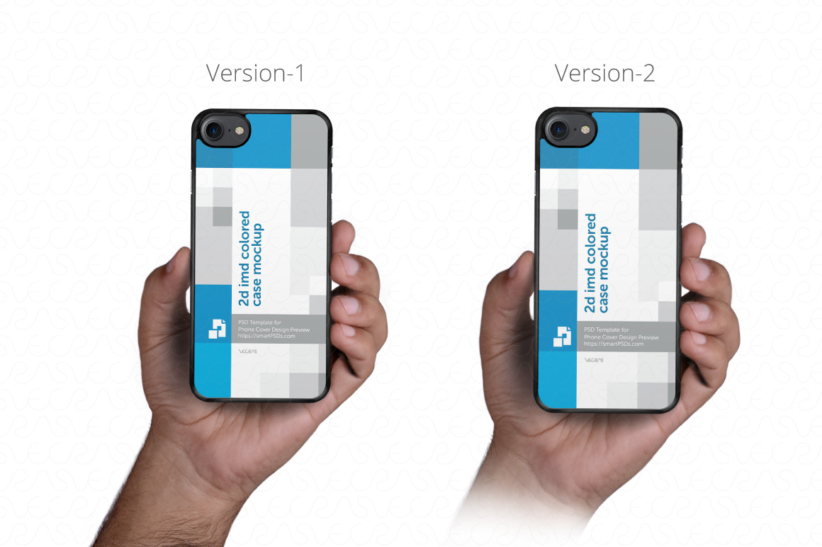 2d Phone Case in Hand PSD Mockup Template Iphone 7 example image 2
