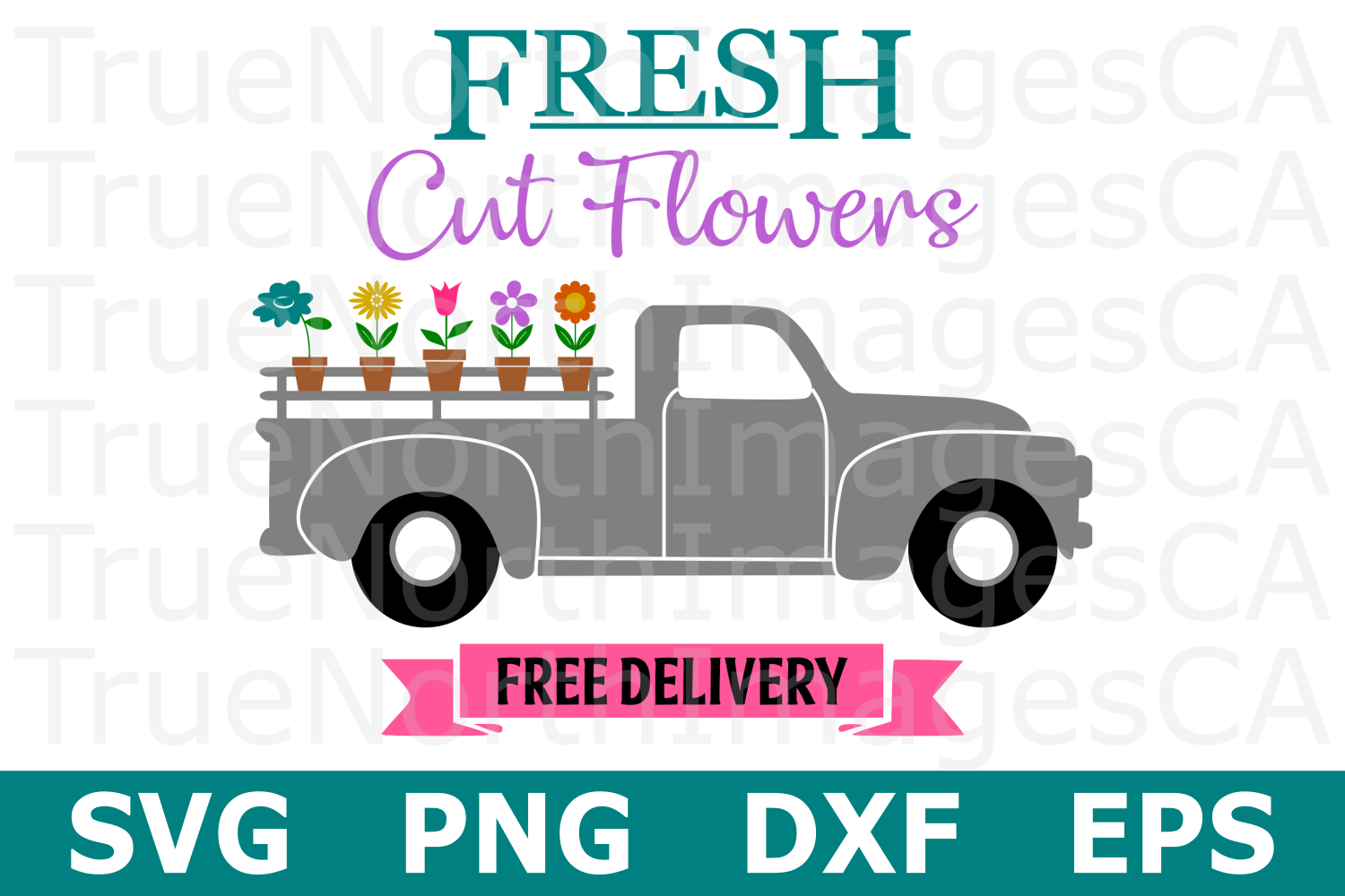 Flower Truck - A Spring SVG Cut File example image 1