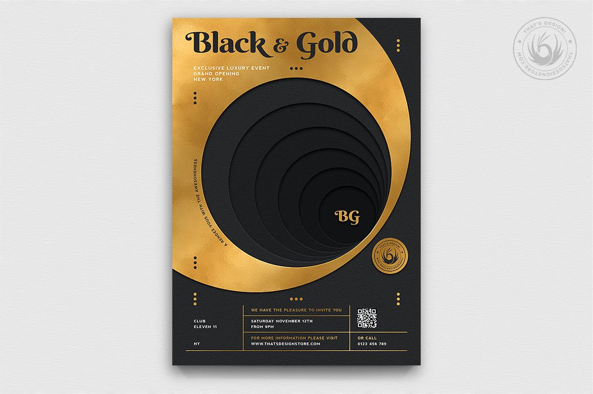 10 Black and Gold Flyers Bundle V2 example image 2