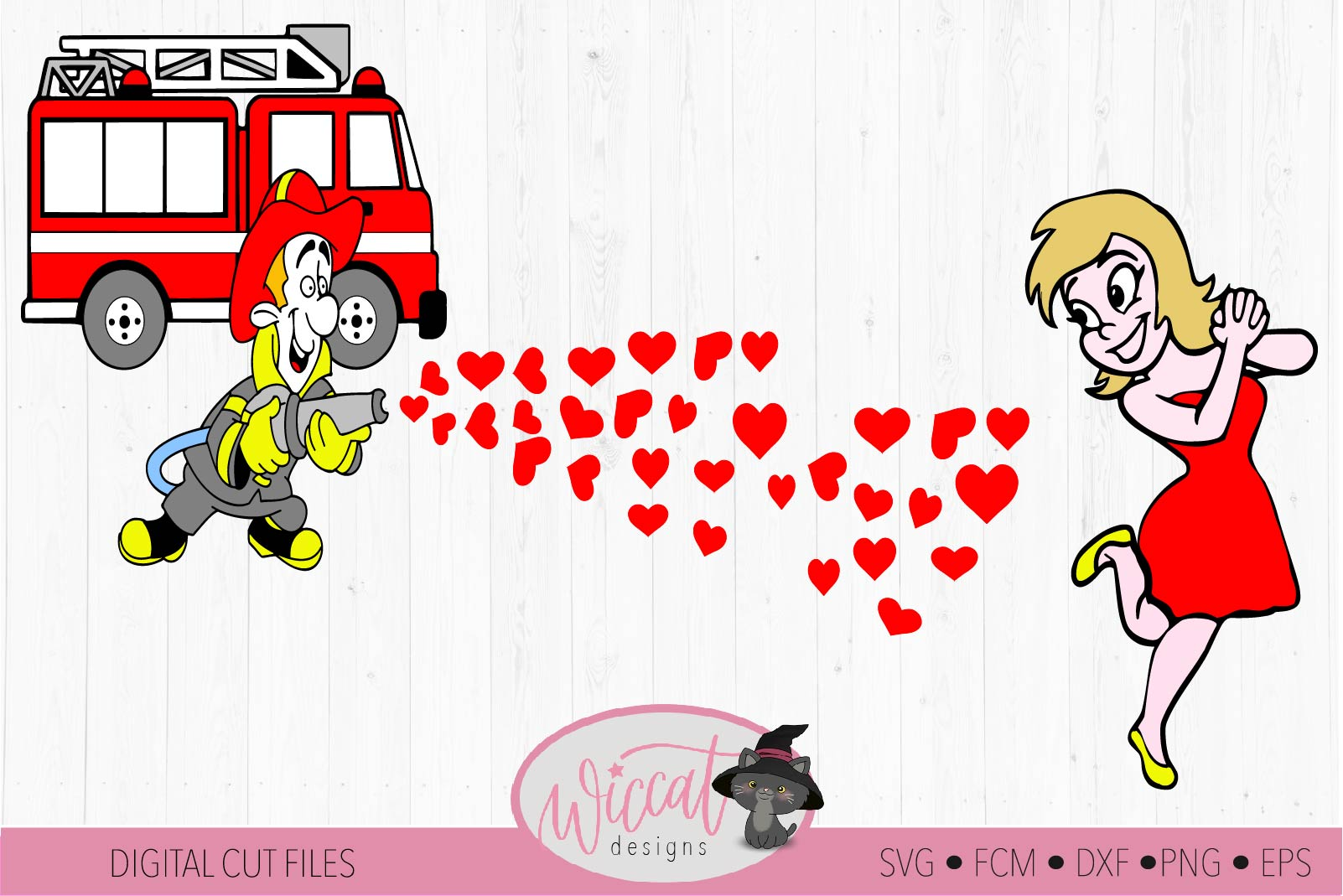 Valentine Fire Truck Couple shirt svg, Fire man svg example image 2