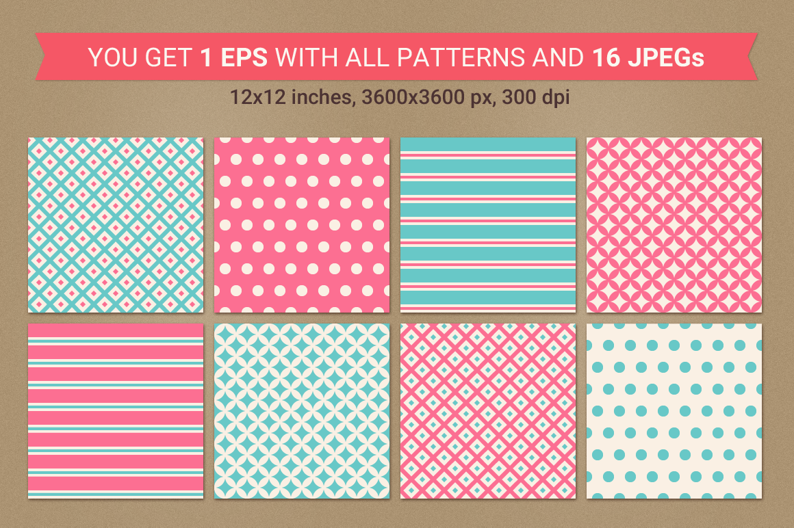 Valentine Seamless Patterns - Set 1 example image 3