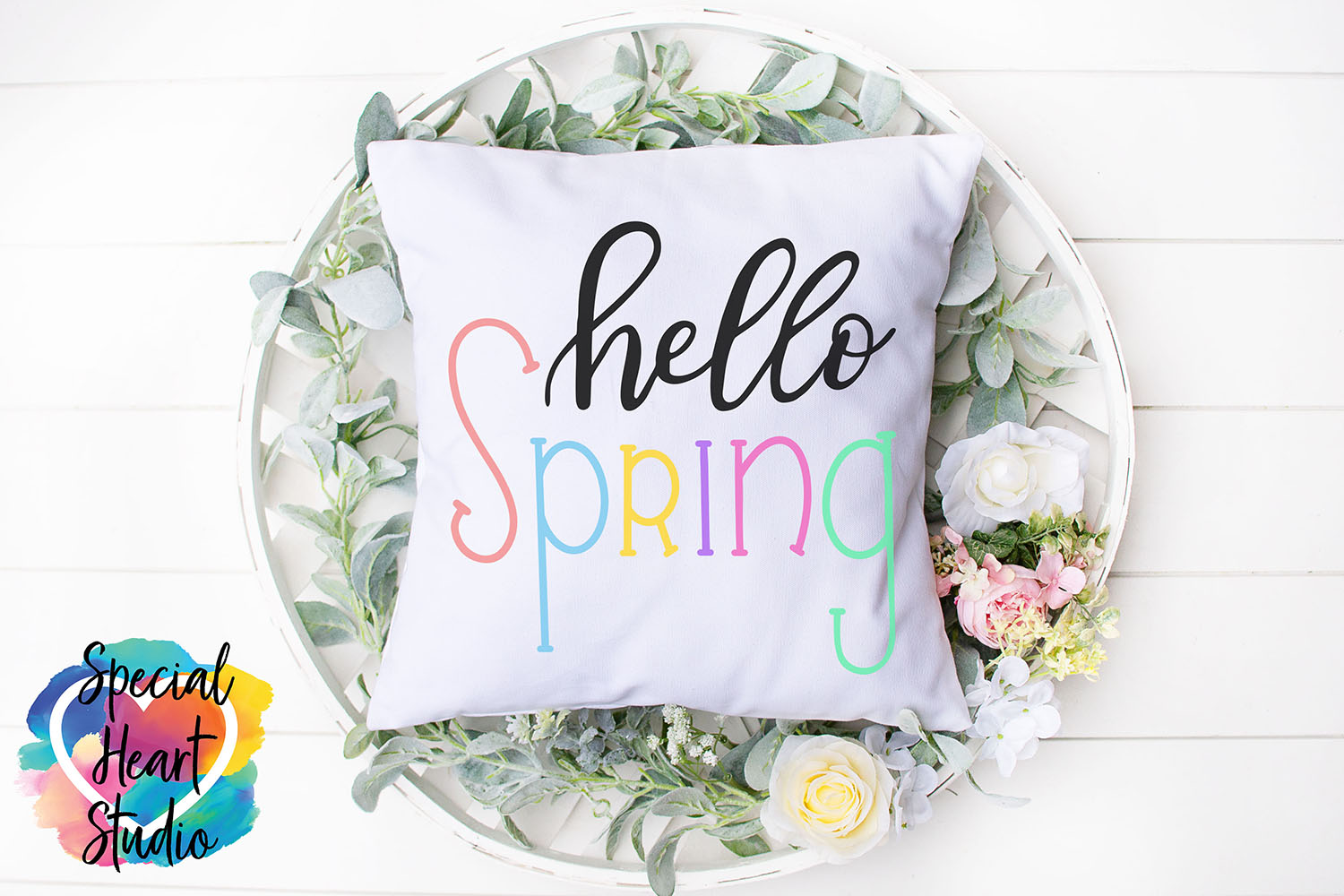 Hand lettered Hello Spring SVG - Home decor, sign, pillow example image 2
