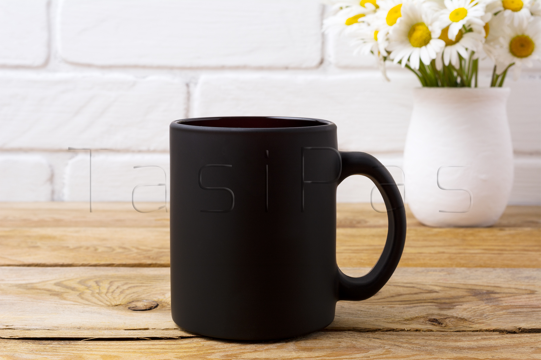 Black coffee mug mockup with white field chamomile bouquet in handmade rustic vase. example image 2