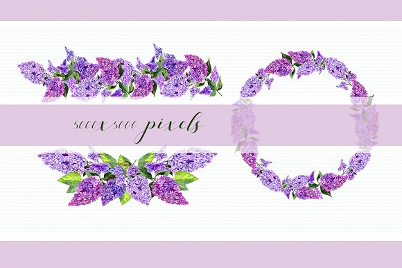 Watercolor Lilac Flowers Clipart Set example image 3