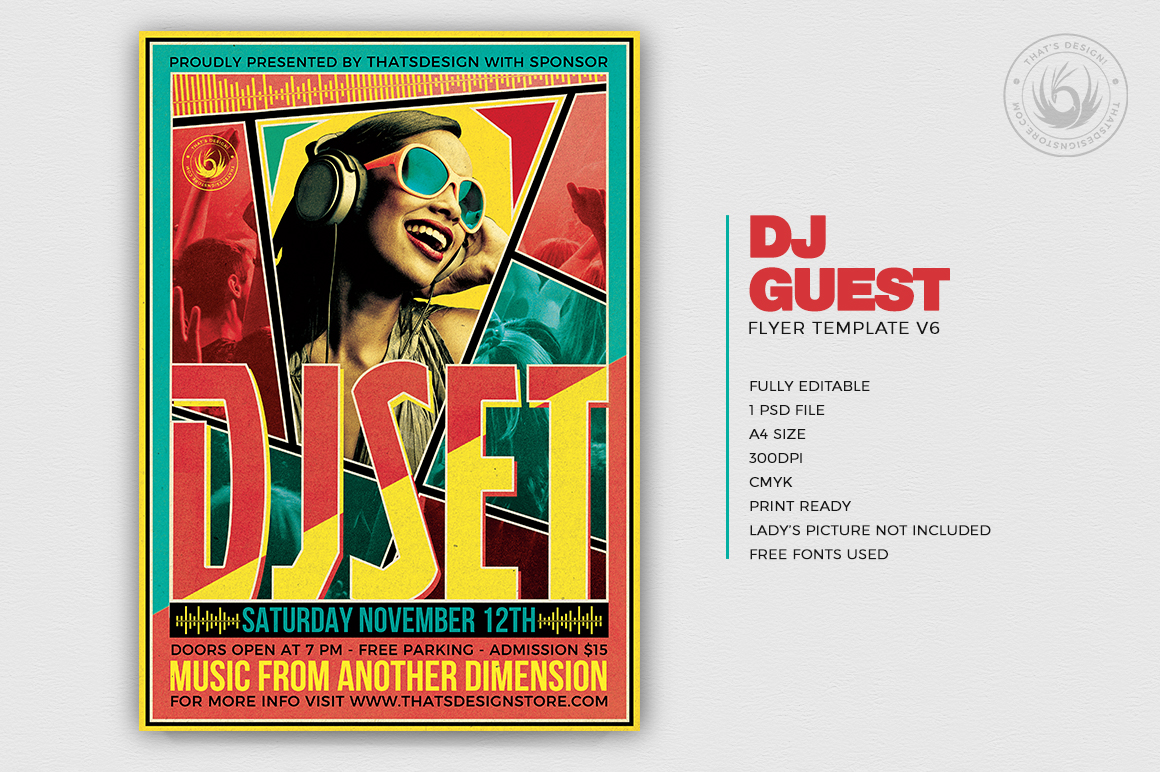 DJ Guest Flyer Template V6 example image 1