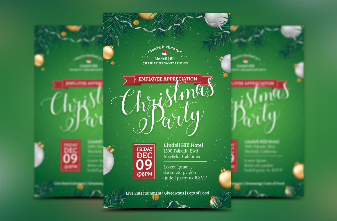 Green Christmas Party Flyer Template example image 2