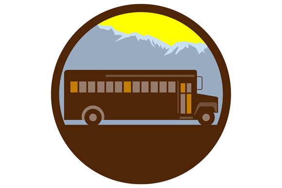 School Bus Vintage Mountains Circle Retro example image 1