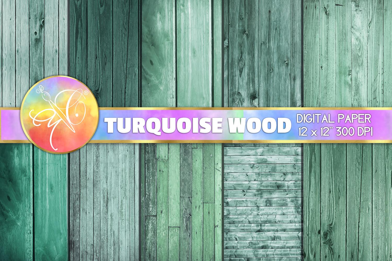 Turquoise Wood Digital Paper, Digital Background example image 1