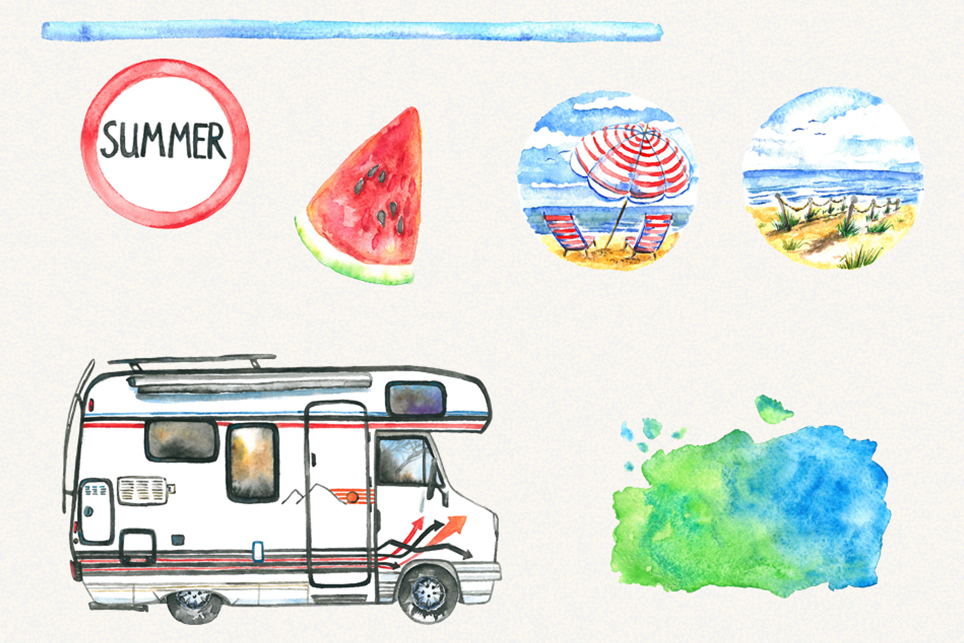 Summer clipart, sea clipart, travel clipart, watercolor example image 2