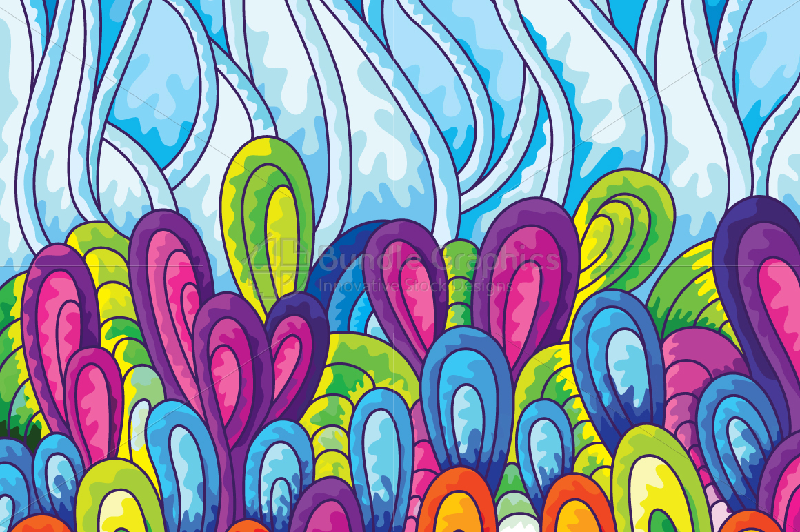 Colorful Floral Scales Vector Background example image 1