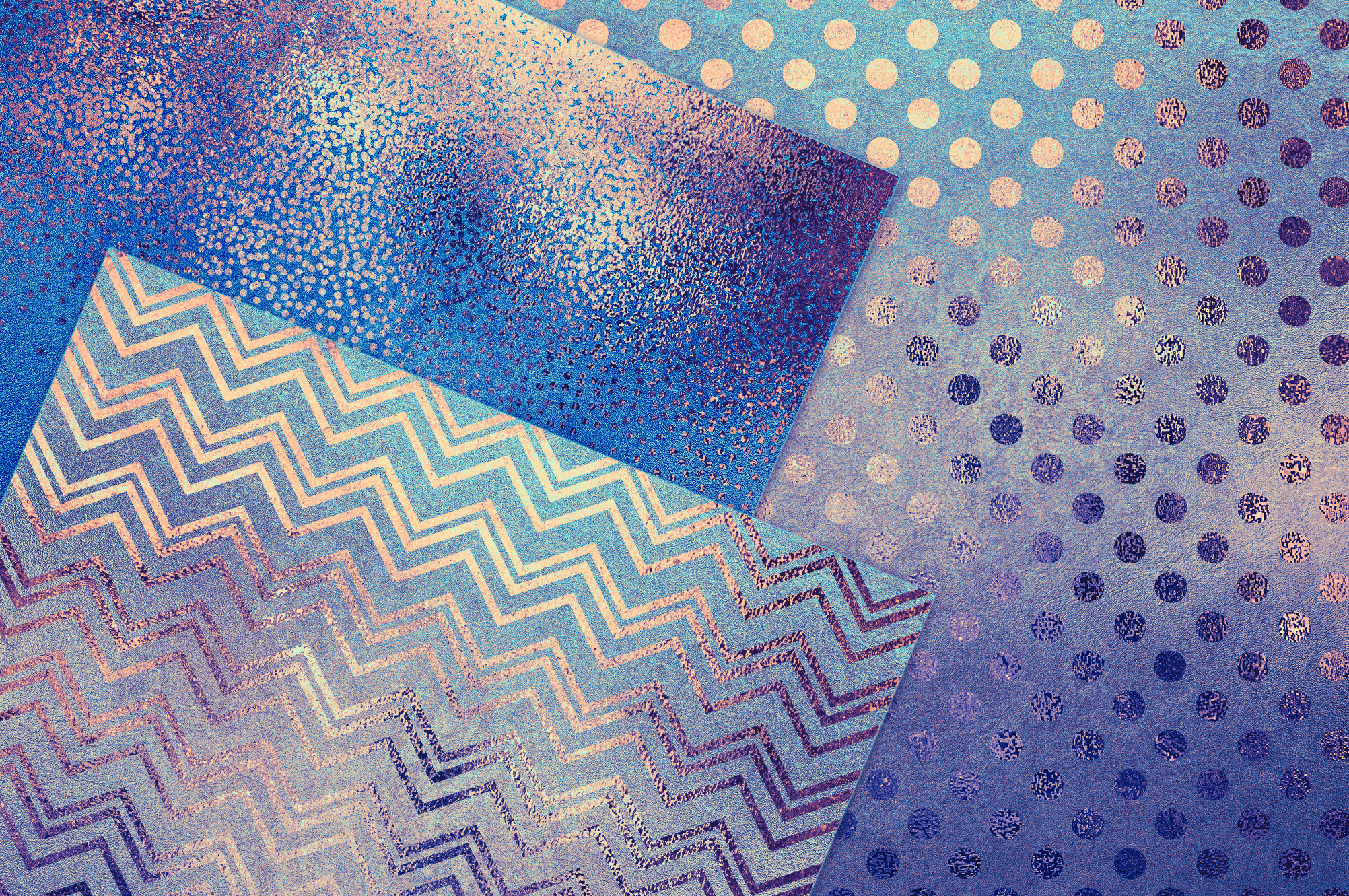 Blue Gold Pattern & Foil Textures example image 2