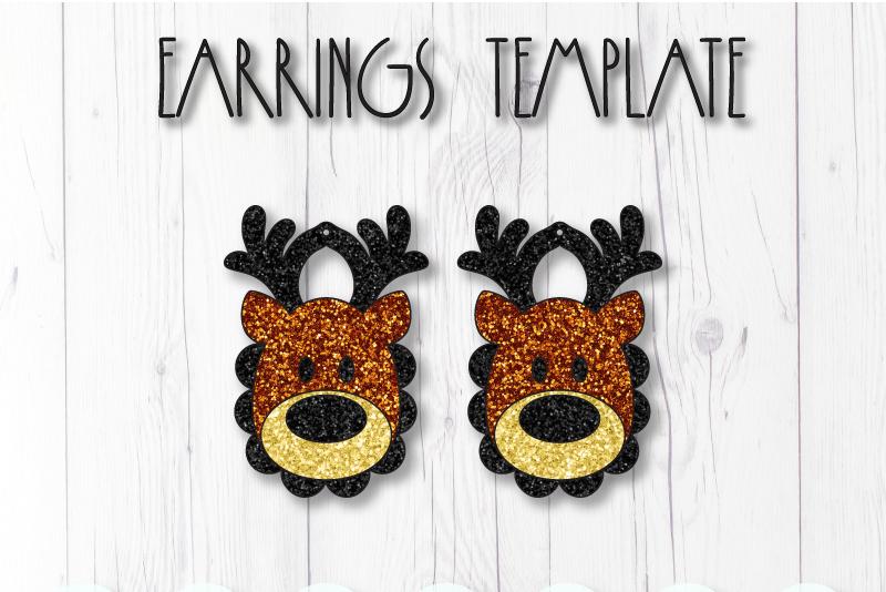 Deer earrings template SVG, DIY earrings template example image 1