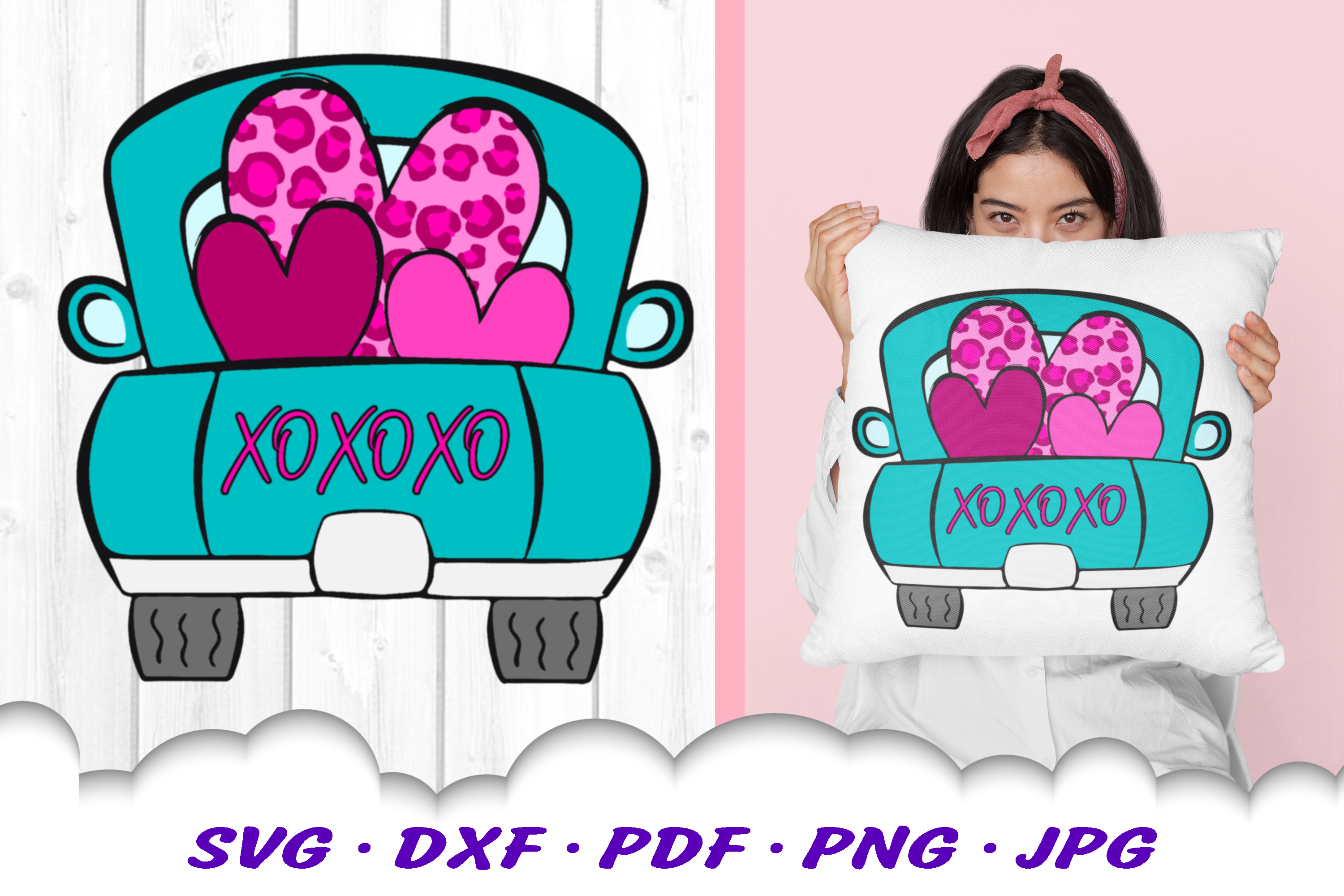 Valentines Truck Leopard Print Heart SVG DXF Cut Files example image 1