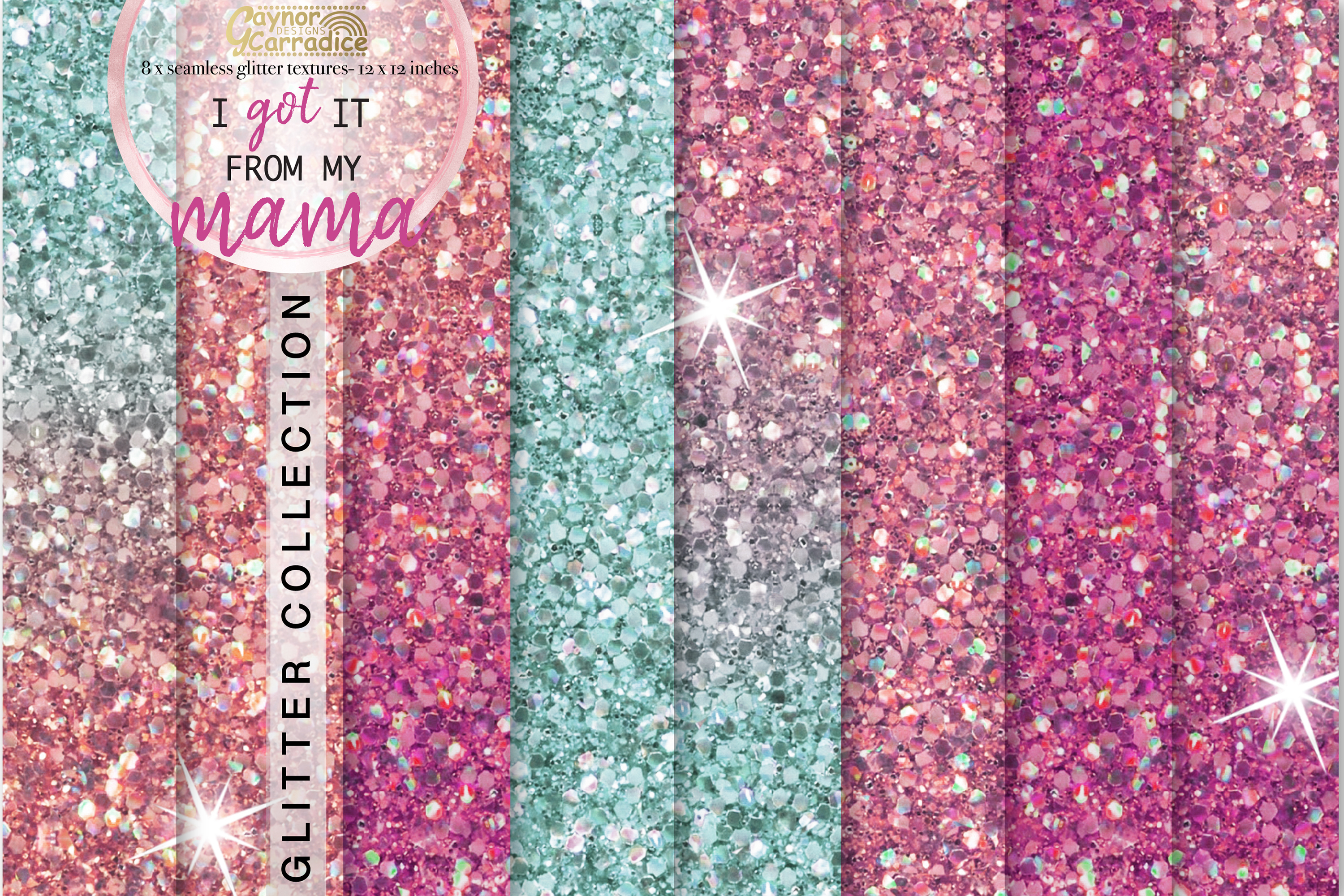 Pink and mint seamless Glitter backgrounds example image 1