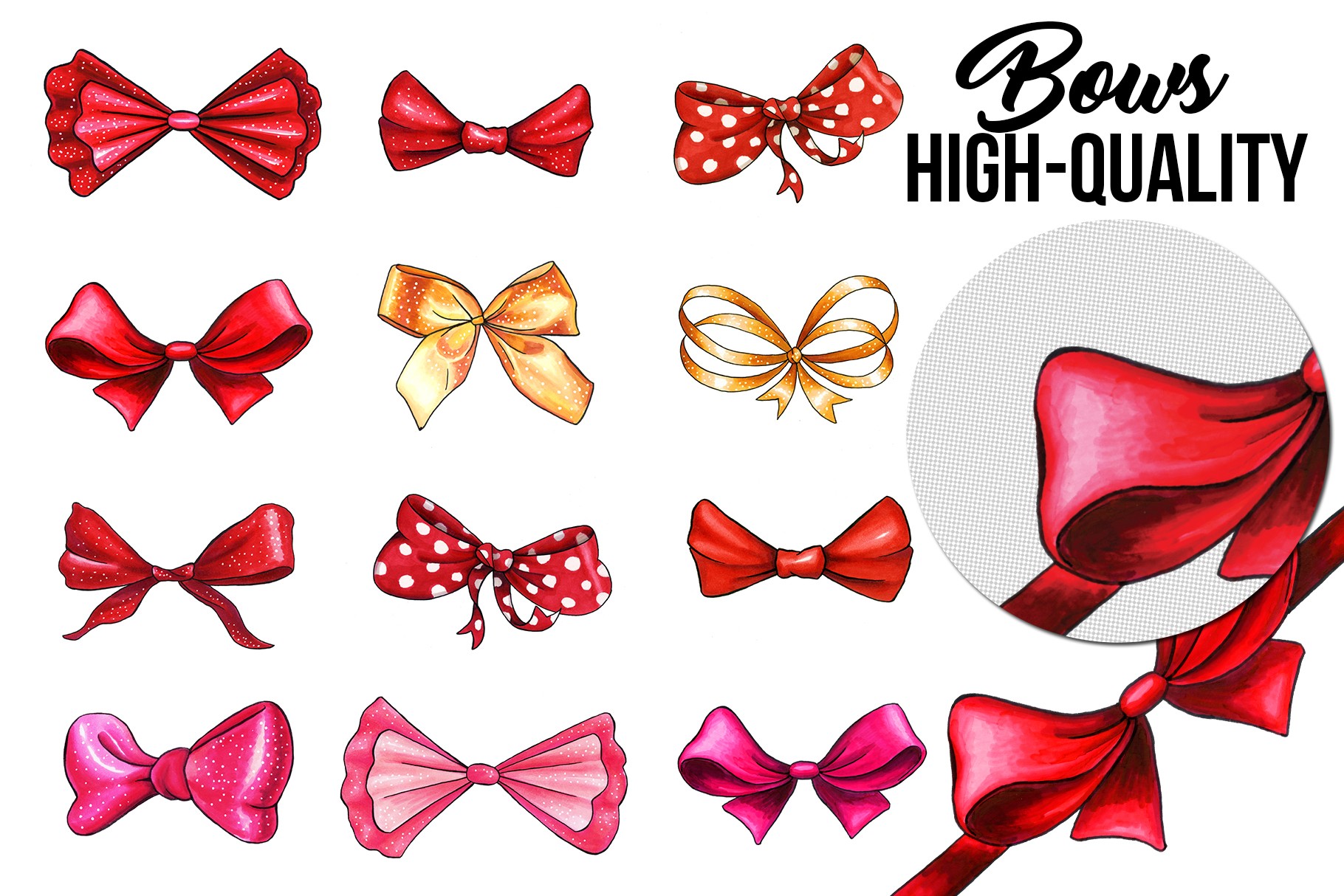 Bows and Ribbons Marker Clipart Collection example image 3
