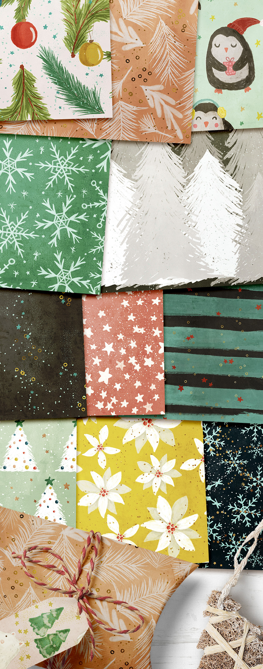 Watercolor Winter Seamless Patterns example image 3