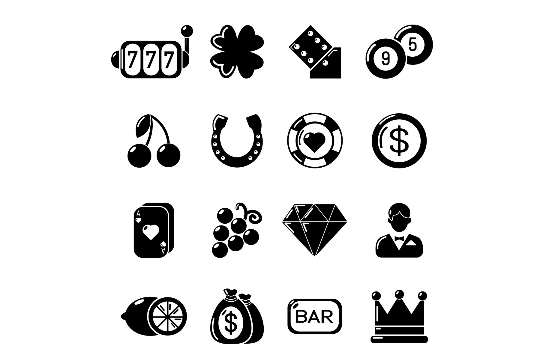 Casino icons set, simple style example image 1