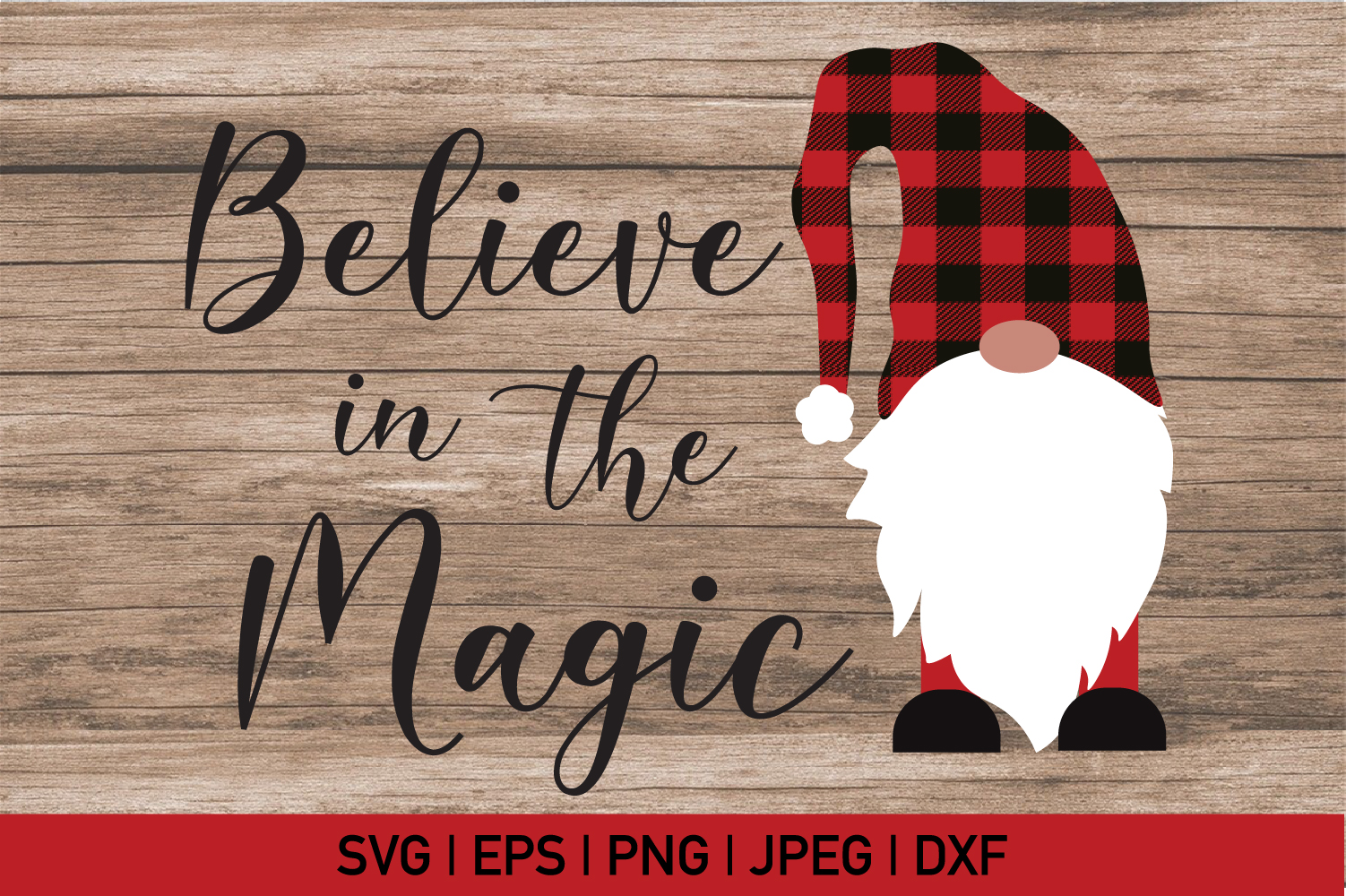 Believe in Magic, Gnome Buffalo Plaid Svg example image 2