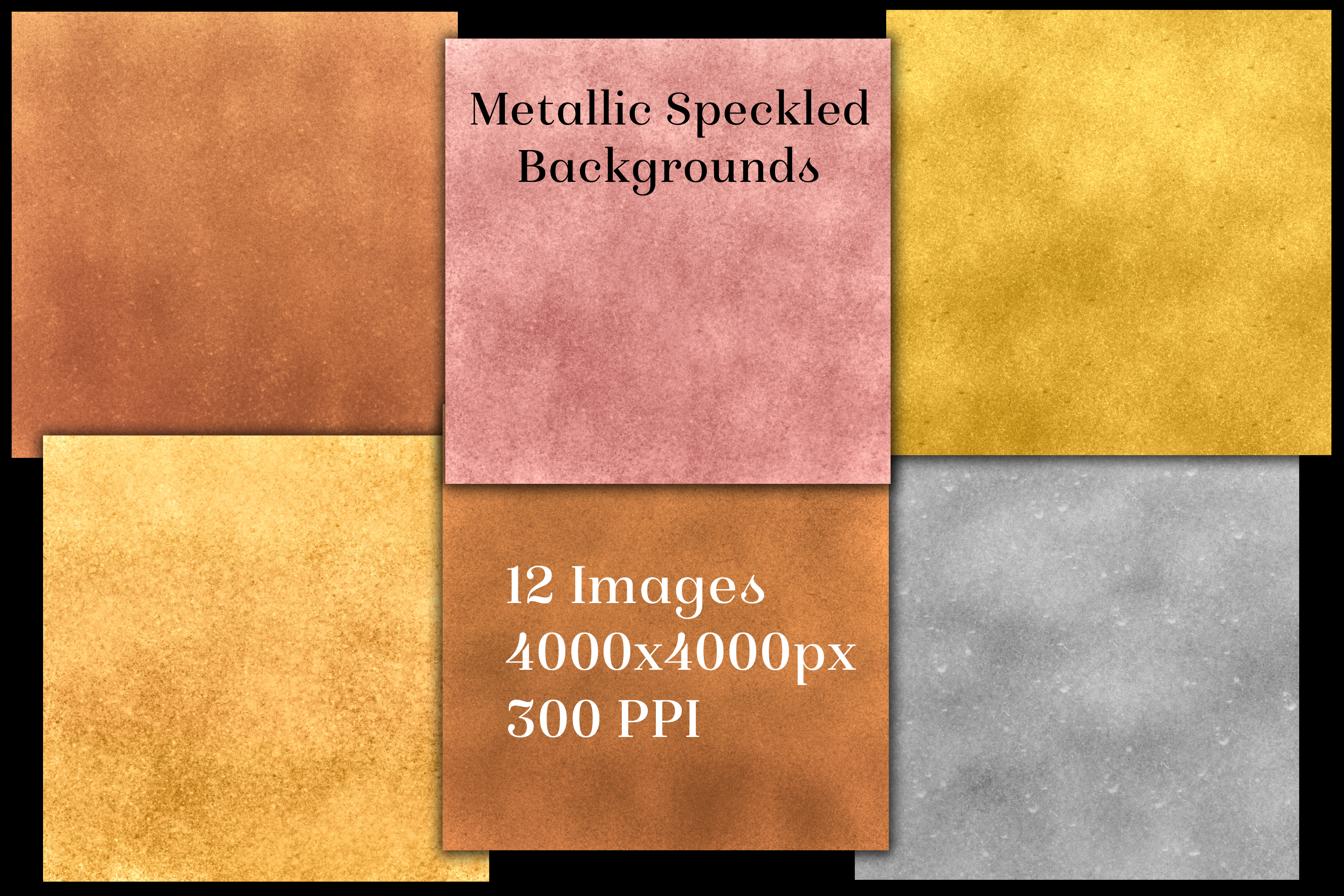 Metallic Speckled Backgrounds - 12 Image Textures Set example image 2