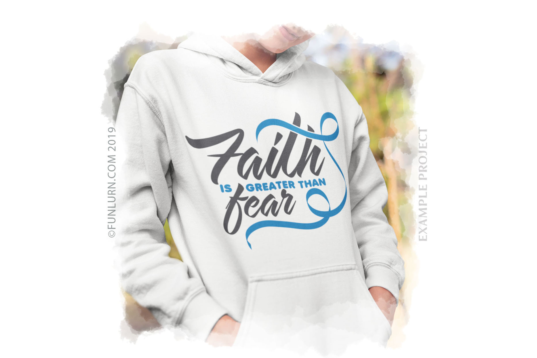 Faith is Greater Than Fear Blue Ribbon SVG Cut File example image 3