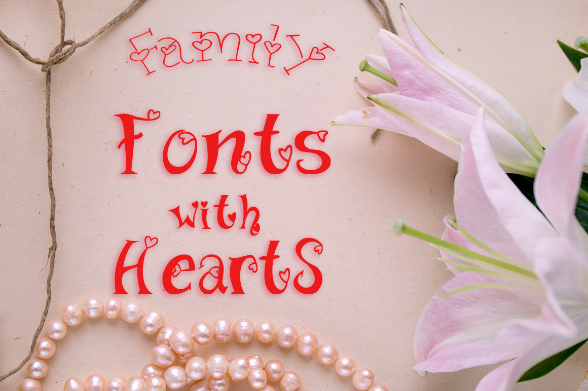 Family fonts with hearts example image 2