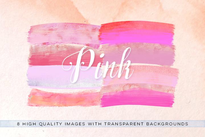 Watercolor brush strokes clip art, pink brush clipart, watercolor paint clipart, pink wedding Paint Clipart, pink ink strokes clipart, example image 2