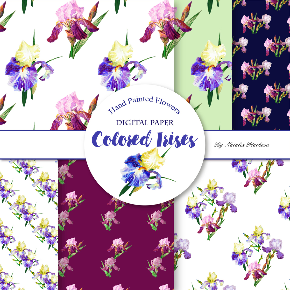 Digital Paper with Colored Irises example image 3