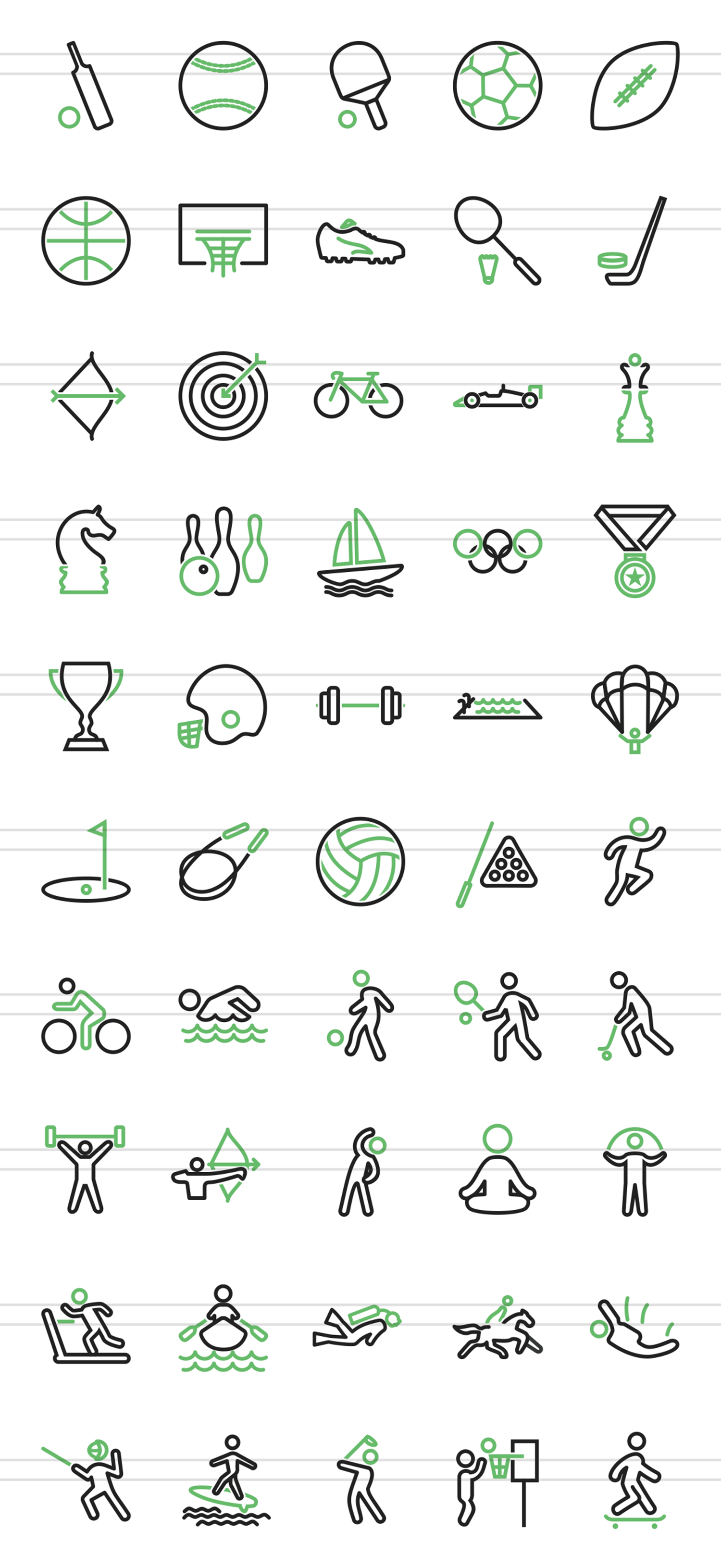 50 Sports Line Green & Black Icons example image 2