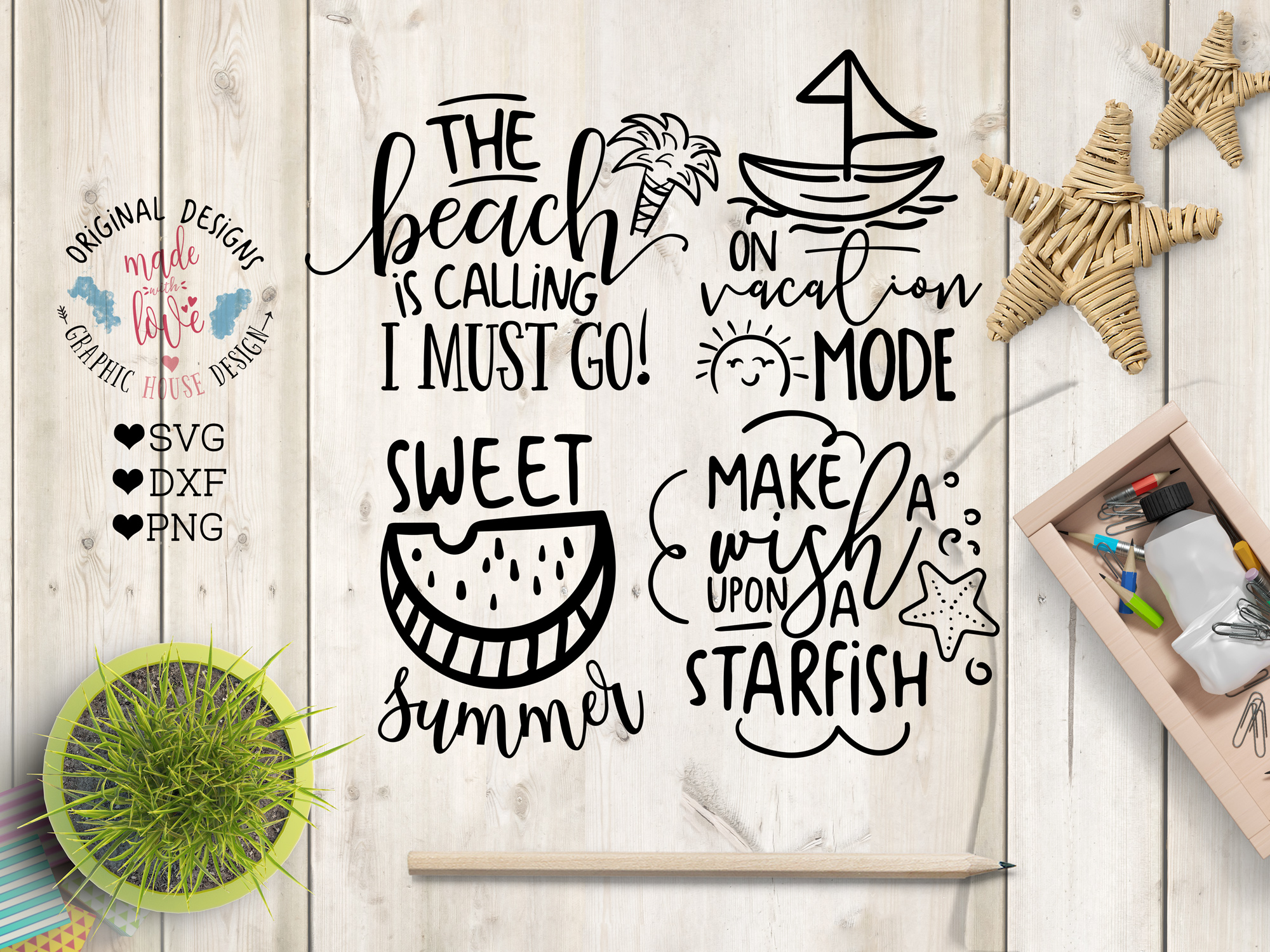 Summer SVG Summer Quotes Summer Cut Files Bundle and Doodles example image 5