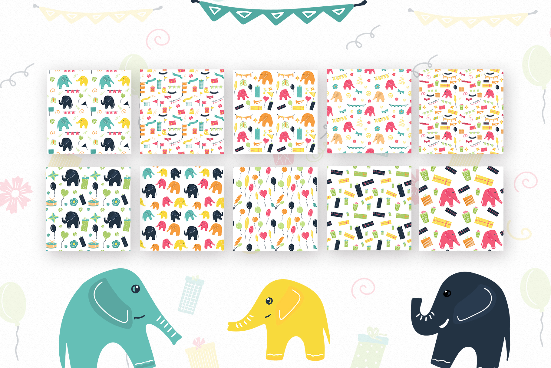 Elephant's party vector clipaty Birthday clipart example image 3