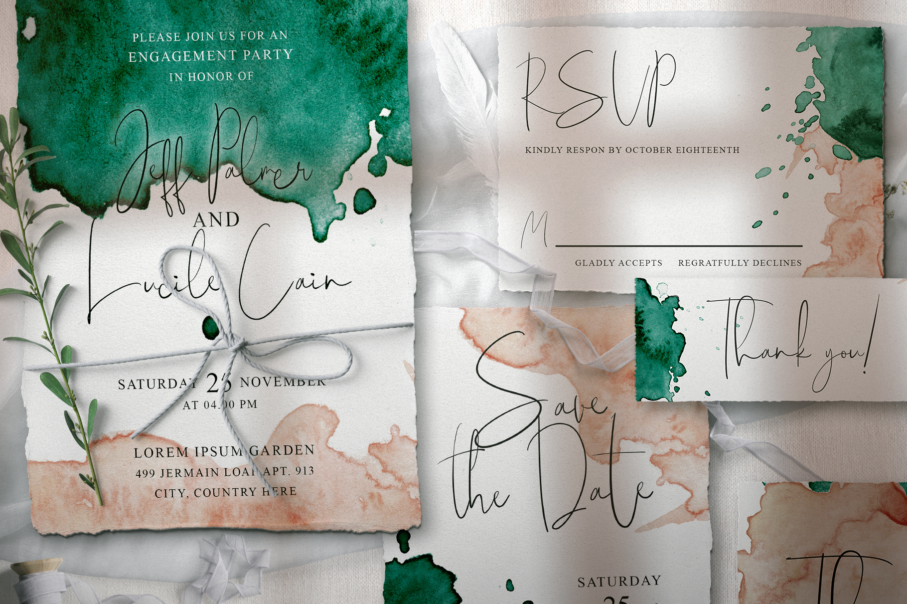 Green and Pink Wedding Invitation Suit example image 2