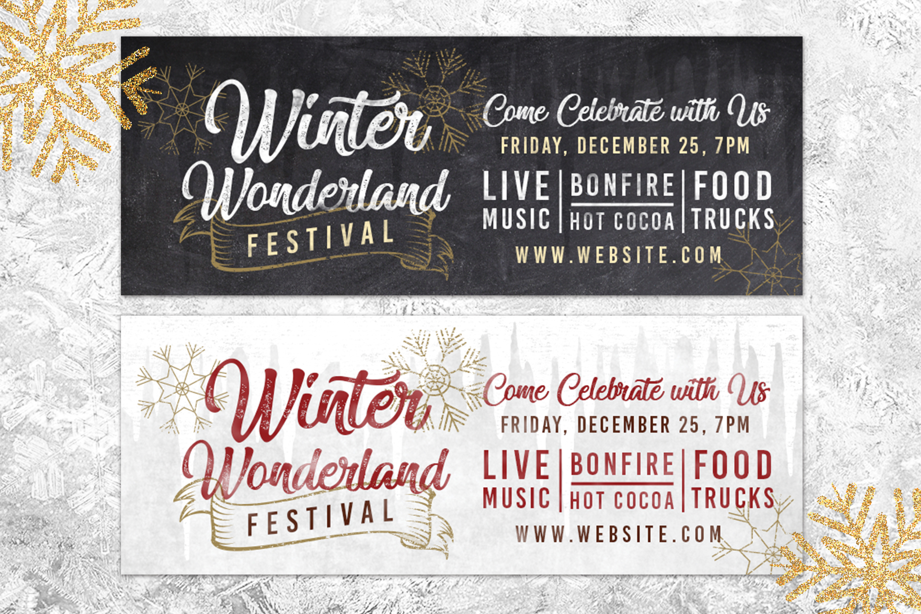 Chalk Christmas Winter Wonderland Holiday Flyer Invite example image 2