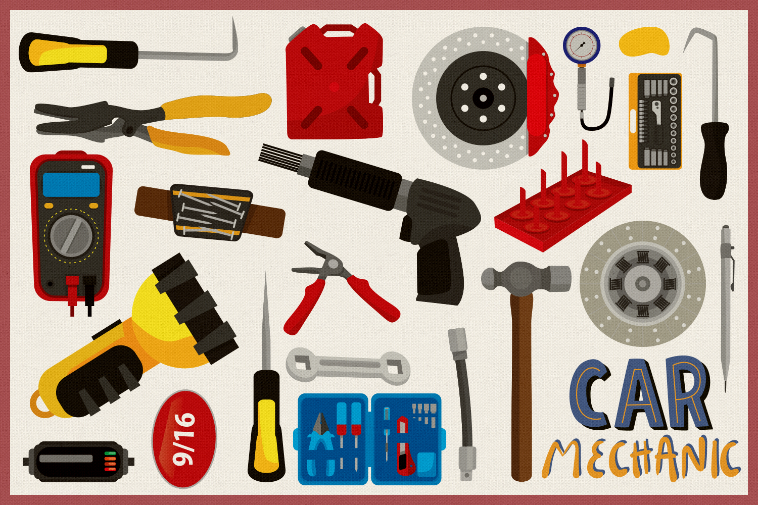 Car Mechanic Vector Clipart and Seamless Pattern example image 2