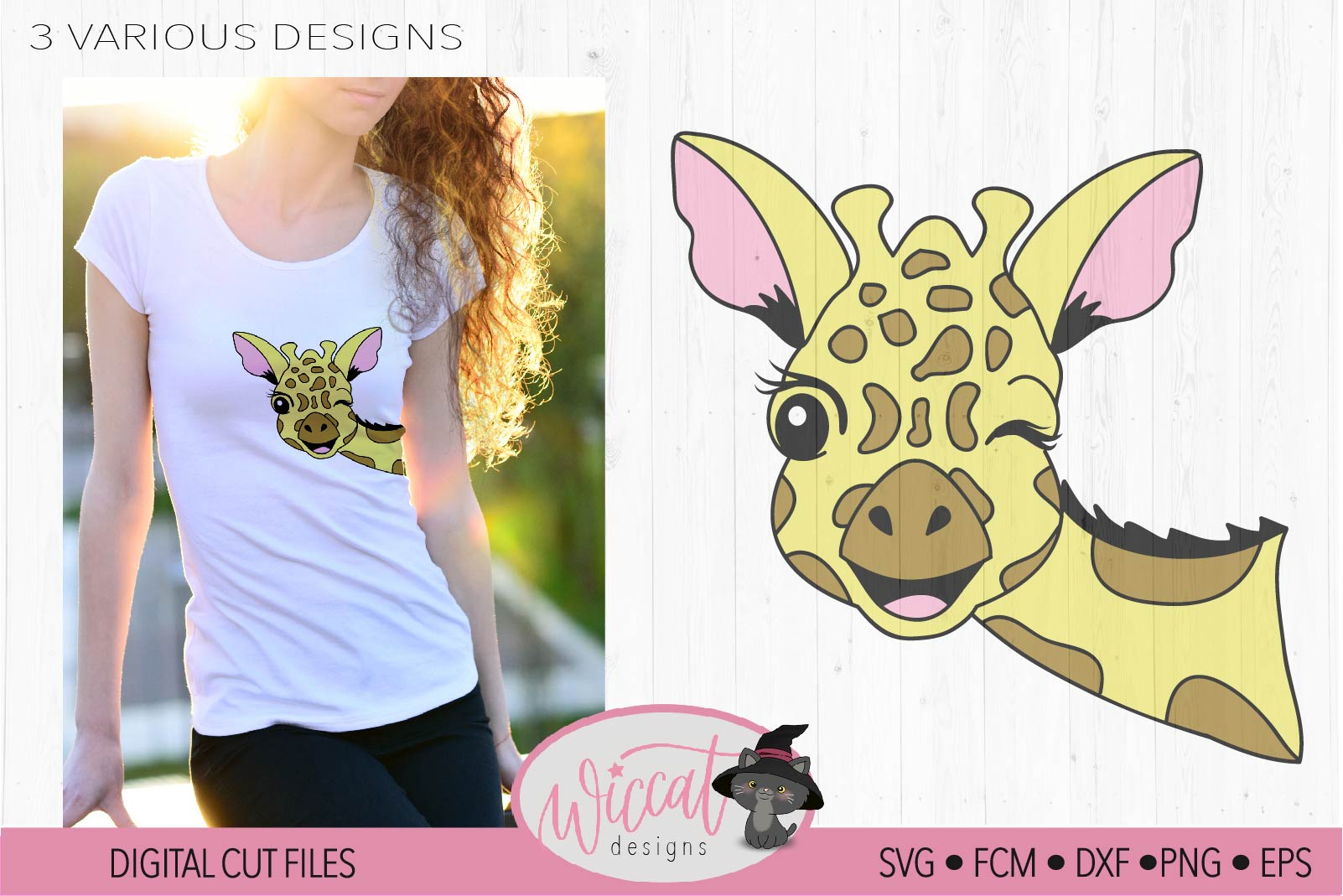 Winking Giraffe face svg, summer design example image 3