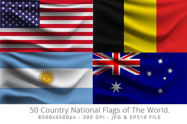Realistic waving 50 Country National Flags of The World. example image 2