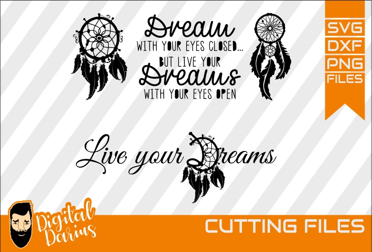2x Dreamcatcher svg, Feather svg, Digital, Live your dreams example image 1