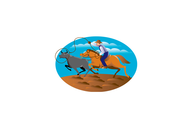 Cowboy Riding Horse Lasso Bull Cow example image 1