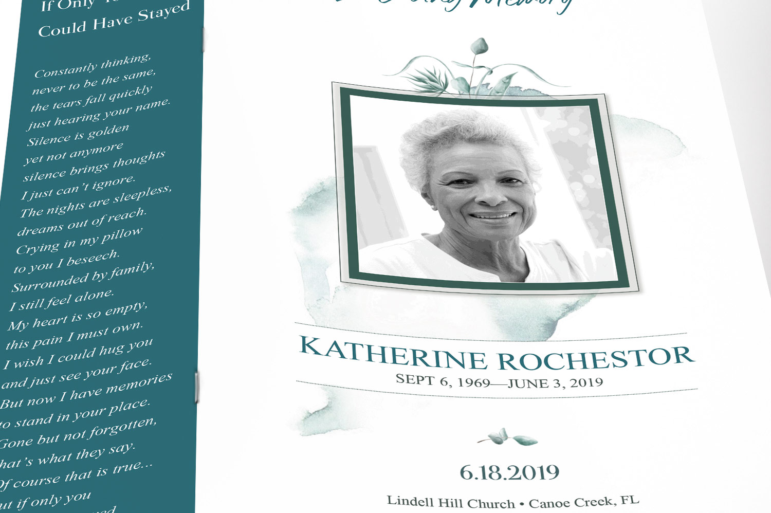 Blossom Funeral Program Word Publisher Template | 8 Pg example image 7