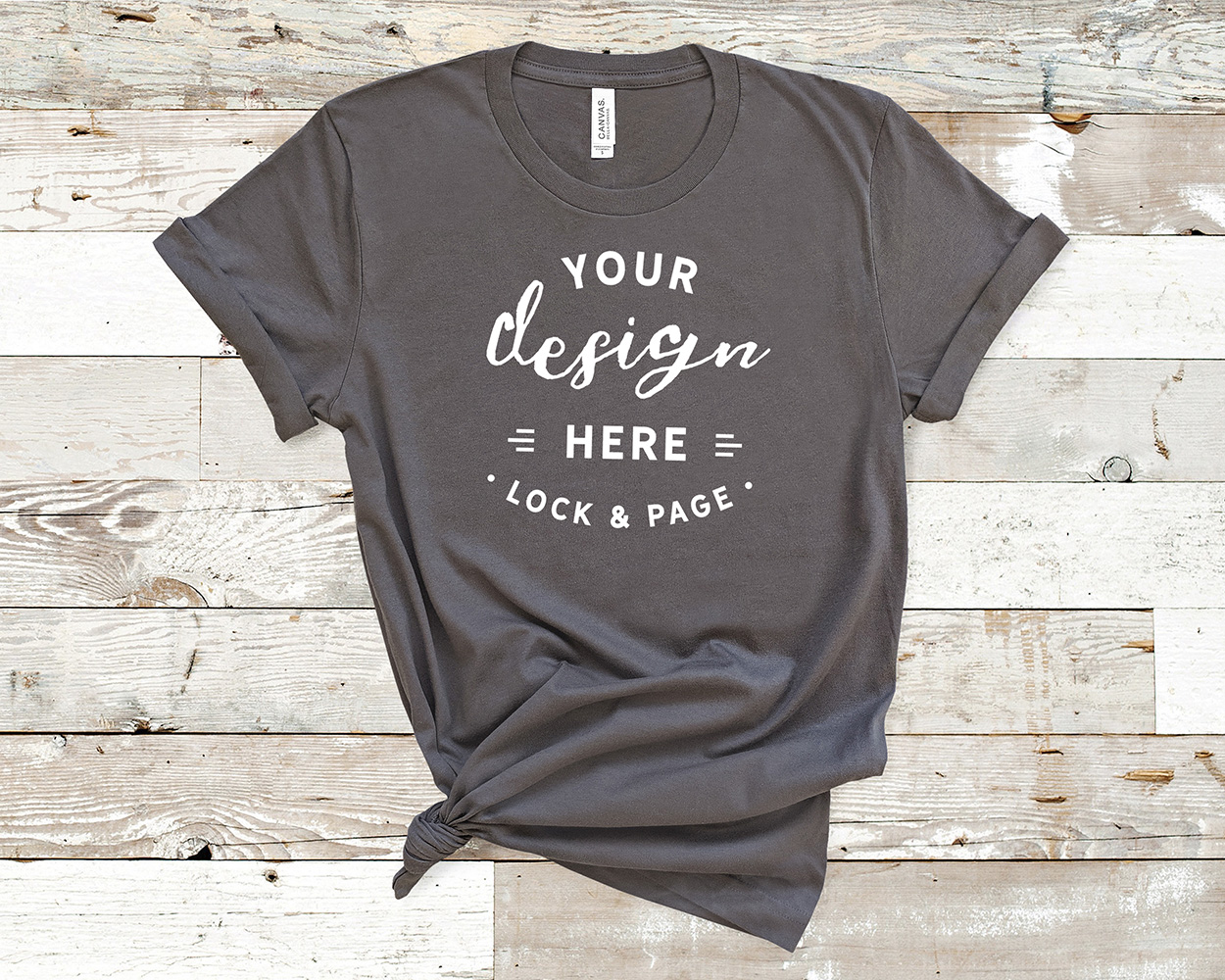 Bella Canvas 3001 Mockup T-Shirt Bundle All Colors On Wood example image 2