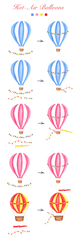 Watercolor Hot-Air Balloons Patterns example image 6