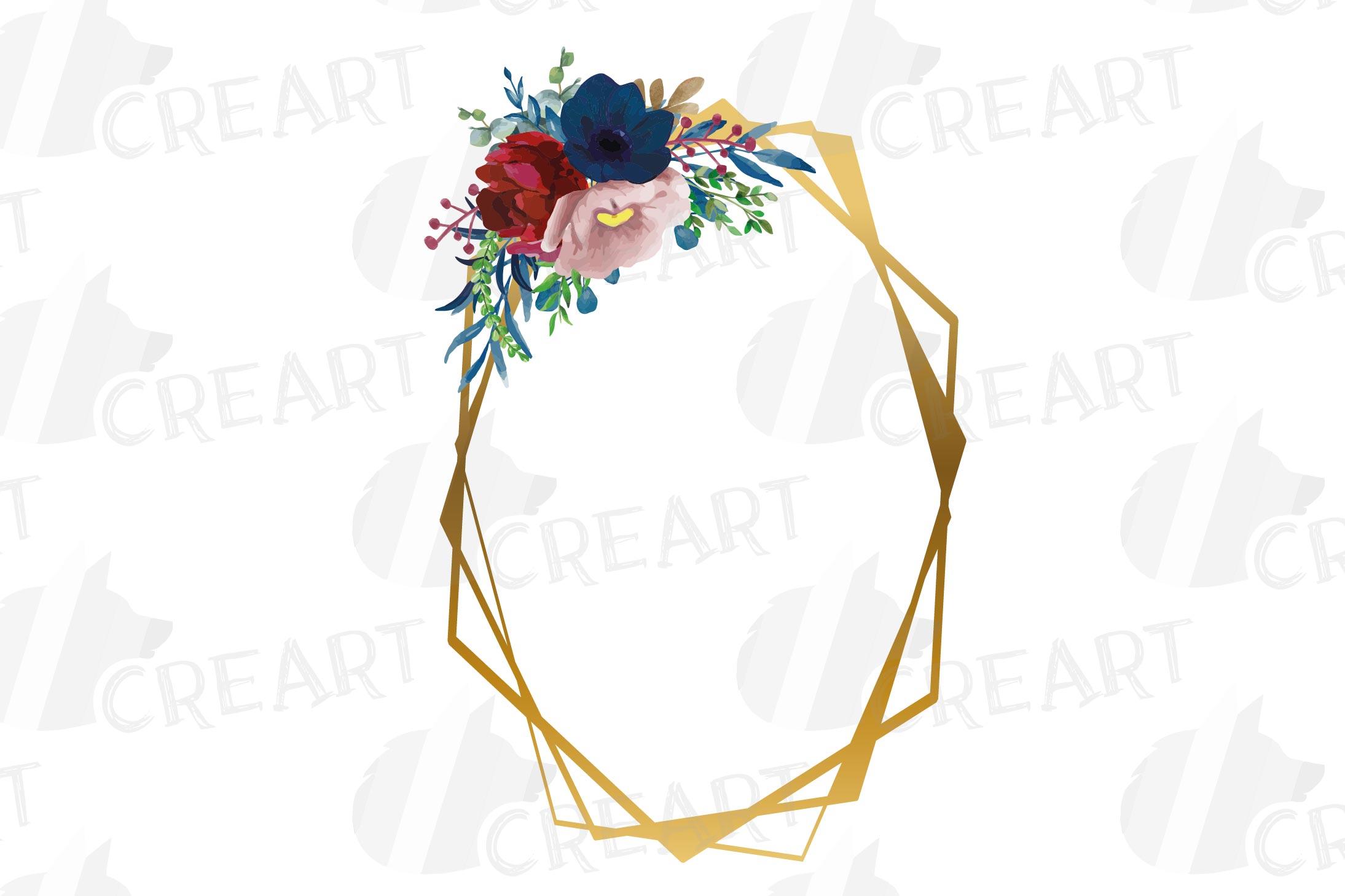 Watercolor elegant floral borders clip art. Wedding frames example image 14