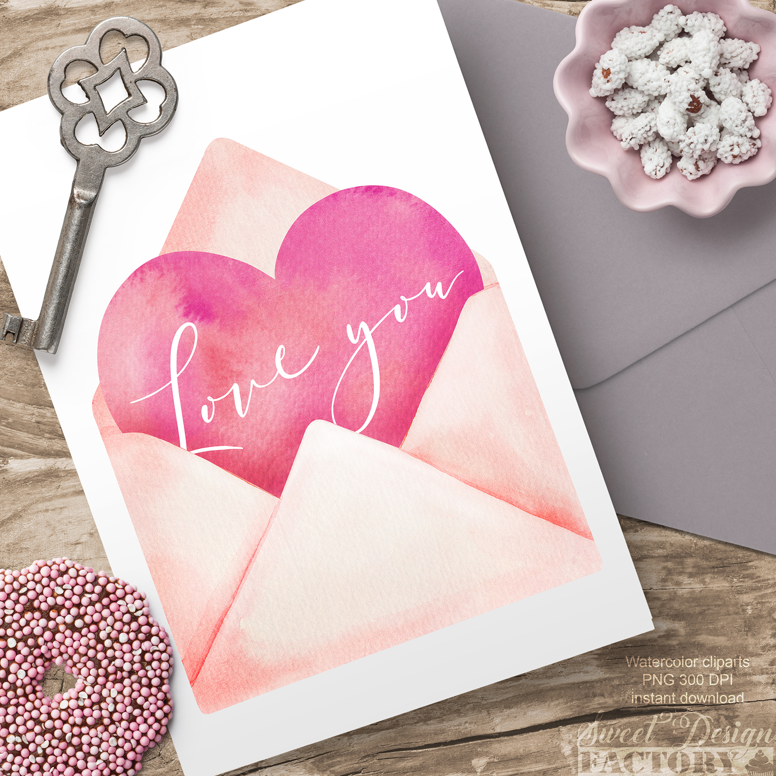 Valentine's day watercolor clipart example image 5
